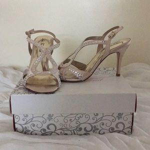 Lulu Townsend strappy champagne heels
